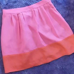 J. CREW Pink and Orange Mini Fit Flare SkirT